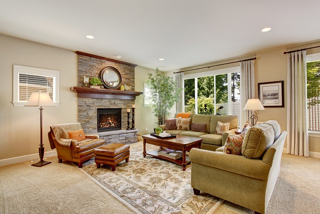 Spacious Living Room With Fireplace Carpet Floor And Rug